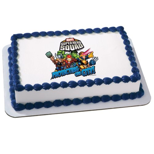 (Marvel Super Hero Squad - Teamwork Edible Icing Cake Topper Party)