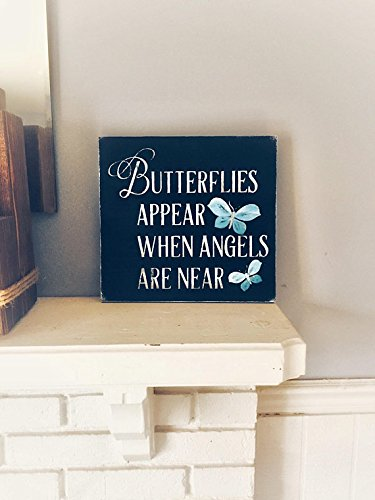 WOODSIGNS QMSING Memorial Butterfly Sign, Memorial Sign, Butterfly Sign, Butterfly, Butterflies Appear When Angels are Near. Unique Gift, Remembrance 7.28 x 7.28 inch -