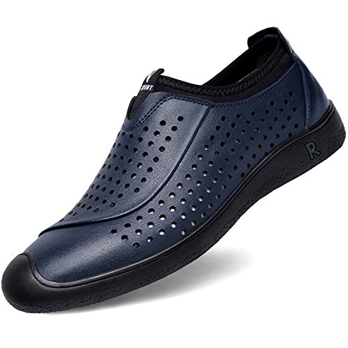 HGDR Mesh Breathable Men Flat Shoes Business Casual Driving Moccasin Leather Shoes Loafers Blue