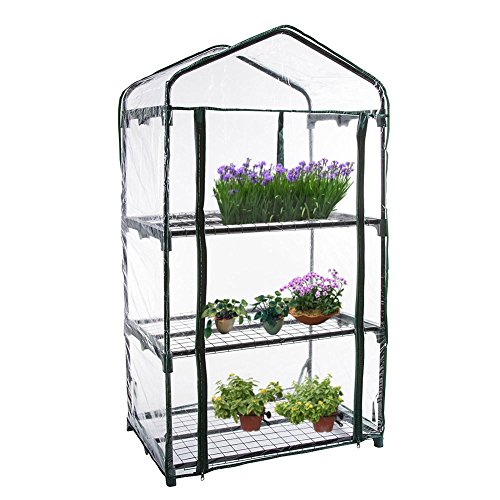 1 pcs PVC Warm Garden Tier Mini Household Plant Greenhouse for Gardens, Patios, and Backyards Plastic Cover (without Iron Stand)