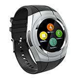 Smart Watch Bluetooth Smartwatch Touch Screen Wearable Multi-function Sport Business Wristwatch for Android Support SIM/TF Card(Sliver)