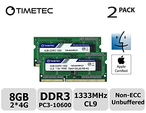 Timetec Hynix IC Apple 8GB Kit (2x4GB)  DDR3 1333MHz PC3-10600 SODIMM Memory upgrade For MacBook Pro 13/15/17 inch Early/Late 2011,iMac 21.5-inch Mid/Late 2011,27-inch Mid 2011,Mac mini 5,1 & 5,2 (Apple Imac Computer Ram)