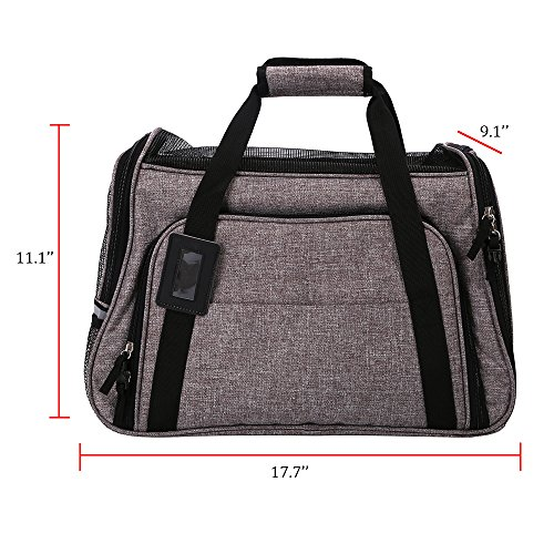 Pet Travel Carrier Airline Approved Premium Under Seat Dogs Cats - Soft Sided Pet Carrier Tote Bag Backpack Fleece Bed & Safety Lock(Grey) by okdeals (Image #1)