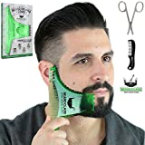 BEARDCLASS Beard Shaping Tool - 8 in 1 Comb Multi-liner Beard Shaper Template Comb Kit Transparent - Bonus Items Included - Works with any Beard Razor Electric Trimmers or Clippers (Green)