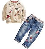 Neband Little Girls Cute Long Sleeve Cartoon Pullover Shirt + Jeans Pants Outfit Se