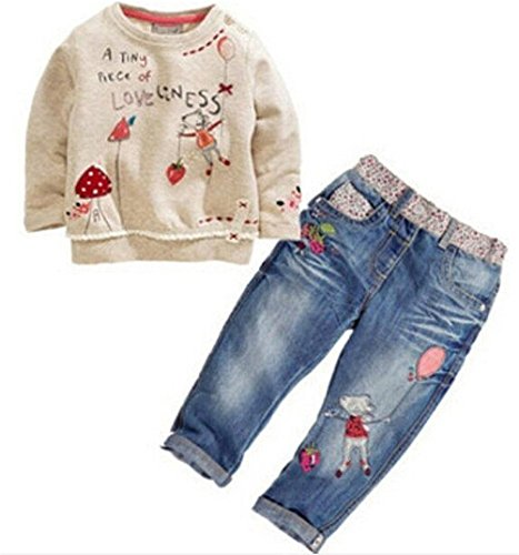 Neband Little Girls Cute Long Sleeve Cartoon Pullover Shirt + Jeans Pants Outfit -