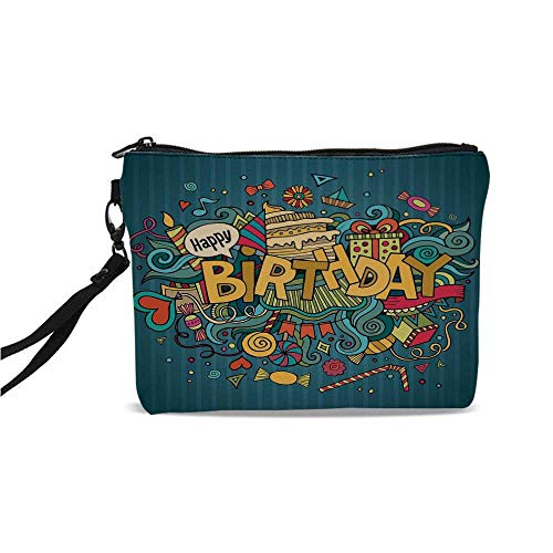 Birthday Decorations Simple Cosmetic Bag,Hand Doodle Elements Lettering Happiness Icons Cartoon Style Cheering for Women,9