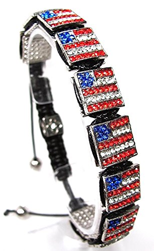 Red White Blue Crystal Shamballa USA American Flag Hip Hop Bracelet