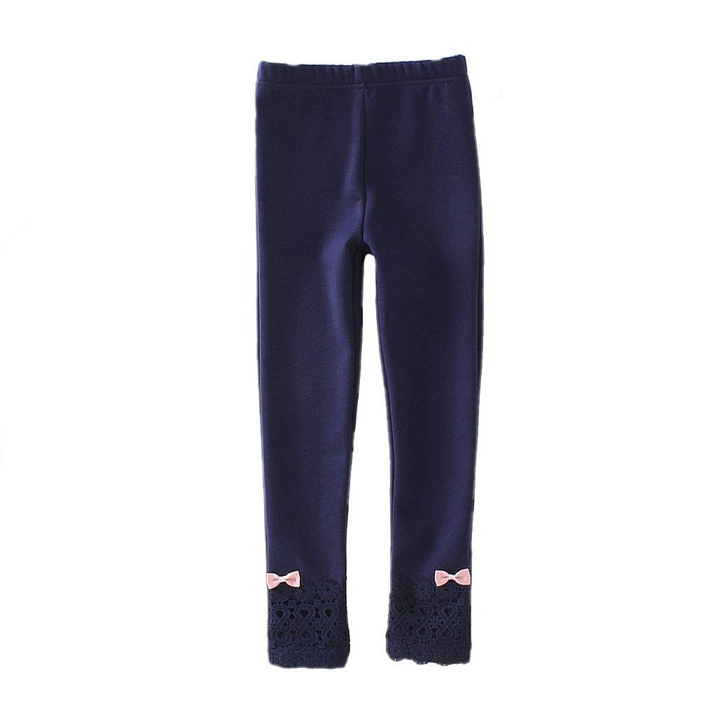 Tortor 1Bacha Kid Girls Cute Bowknot Lace Winter Leggings Pants Fleece Lined