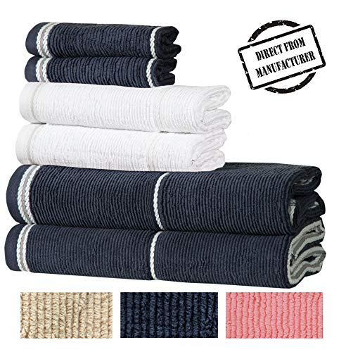 Textured Luxury Cotton Towel Set- 6 Pieces- 2 Extra Large Bath Towels 2 Hand Towels 2 Washcloths Designer Towels for Bathroom by Avira Home from Avira Home