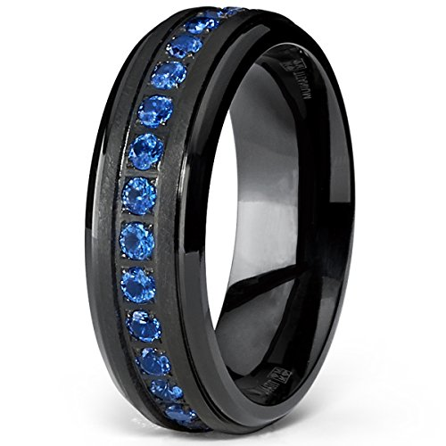 FlameReflection 8mm Blue Strip Inlay Domed High Polish Tungsten Mens Wedding Ring