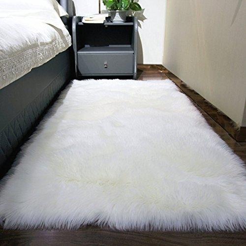 Fur Sheepskin Area Rug Baby Bedroom Fluff Floor Sofa Rugs Home Decorative Shaggy Carpet ()