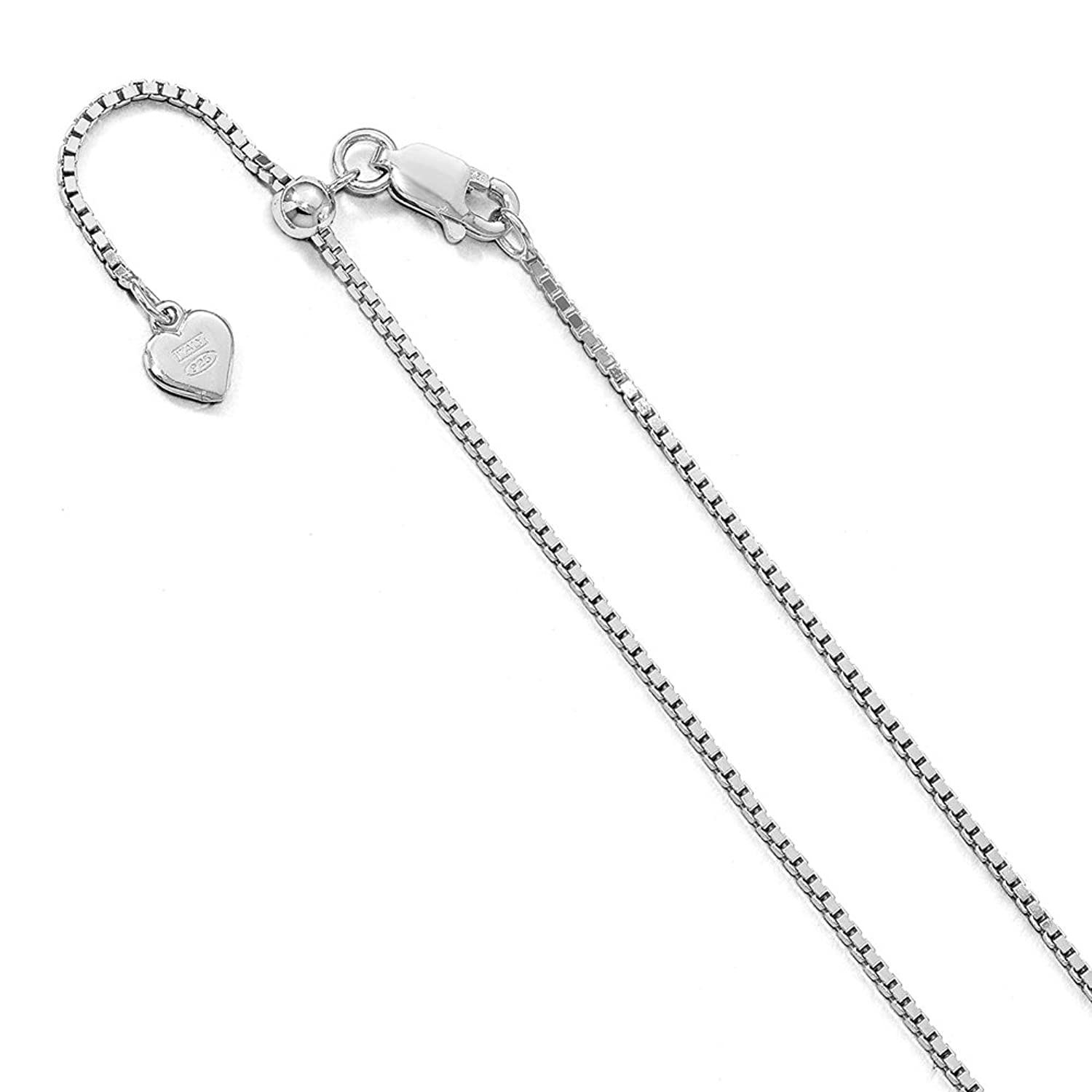 1.2mm Sterling Silver Adjustable Box Chain Anklet, 11 Inch