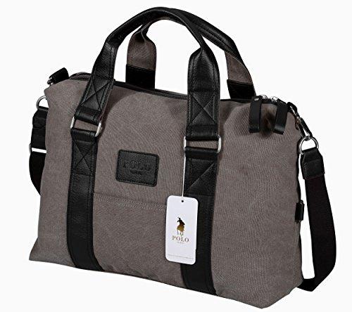 VIDENG POLO Mens Messenger Bag Vintage Canvas Duffel Bag Shoulder Bag Gym Bag Travel Handbag (Khahi-01)