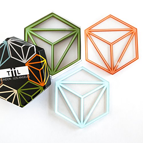 Hexa Drink Coasters By TiiL. Set of 6 Coasters for Drinks Plus Gift Box (Prism)