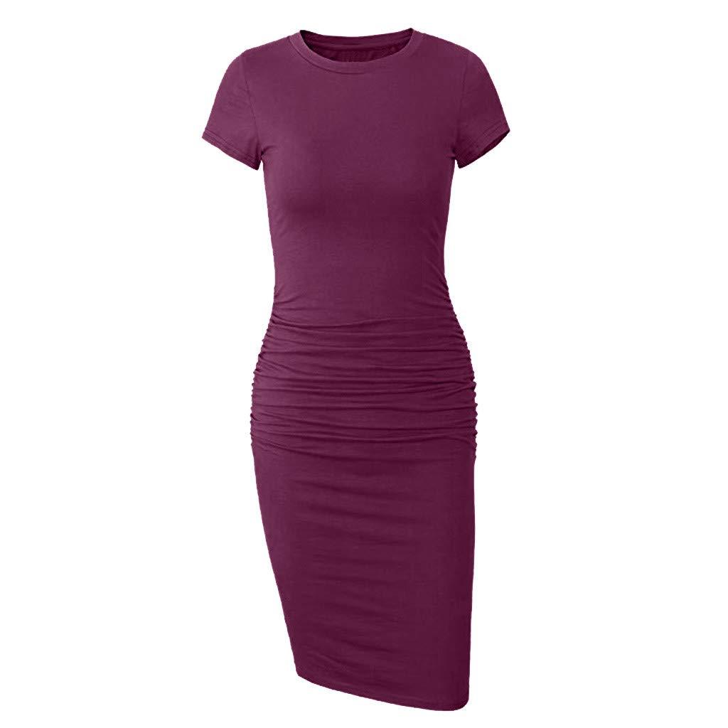 Women's Tight Summer Mini Dress Round Neck Short Sleeve Bodycon Casual Wear ❀Vine_MINMI❀ Irregular Business Dresses Pink by Vine_MINMI Dress