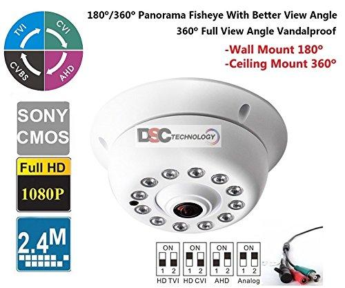 1080P 2.4 Megapixel Indoor Surveillance Security Camera Video Monitoring Night Vision 4-in-1 HD-TVI, AHD, CVI, CVBS Camera (White Indoor Dome 360 Degree Fish-eye Lens) ()