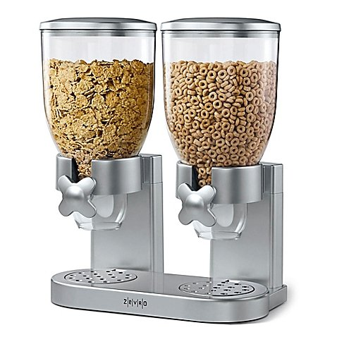 Zevro Double Indispensable Cereal and Dry Food Dispenser in Silver (Indispensable Dry Food Dispenser)