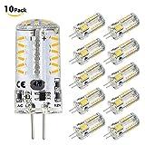 led bi pin bulbs - Blinngo G4 LED Bulb 10 Pack 4W Bi-Pin LED Light Bulb 57×3014 SMD 20W Halogen Bulb Equivalent Silicone Coated Shatterproof 220 Lumens 360° Beam Angle AC/DC 12V (warm white)