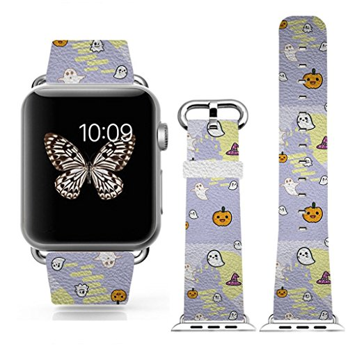 3C-LIFE Watch Band 42mm Women for Apple iWatch,Genuine Leather Strap Wrist Band Replacement for Apple Watch All Models 42mm-Cartoon Ghost Halloween Theme -