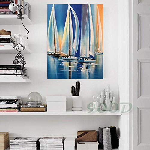 Splash Art Sailboat (20 x 28 inch) Modern Decorative Artwork 100% Hand Painted Contemporary Abstract Oil Paintings on Canvas Wall Art Ready to Hang for Home Decoration ()