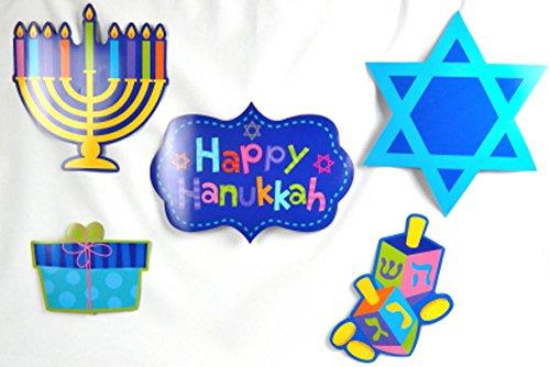 Menorah Hat (Hanukkah Religious Menorah Cutouts Holographic Letter Banner Jewish Star Garland Decoration Bundle)