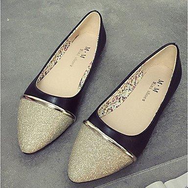 Cómodo y elegante soporte de zapatos de las mujeres pisos caída comodidad Casual sintética soporte de tacón Split Joint Negro/Blanco/Plata Otros blanco