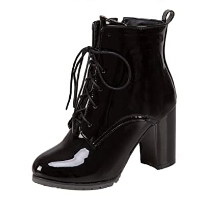 b7649350d0e Onewus Fashion Ankle Boots with Lace Up and High Block Heel All Match Women  Boots with Simple Design and Plus Size  Amazon.co.uk  Shoes   Bags