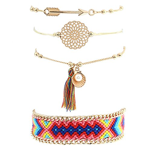 Bohemian Multilayer Vintage Colorful Thread Tassel Crystal Charm Gold Tone Stackable Strand Bangle Bracelet Set for Women and Girls