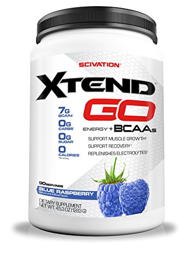Scivation Xtend Go Amino Energy BCAA Powder for Pre Workout or Anytime Energy, BCAAs, Blue Raspberry, 90 Servings