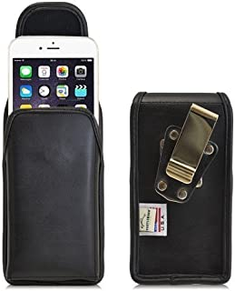 product image for Turtleback Belt Case for iPhone 6 Plus 6S Plus (5.5) Black Vertical Holster Leather Pouch with Heavy Duty Rotating Ratcheting Belt Clip Made in USA