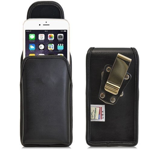 Turtleback Belt Case for iPhone 6 Plus 6S Plus (5.5) Black Vertical Holster Leather Pouch with Heavy Duty Rotating Ratcheting Belt Clip Made in USA