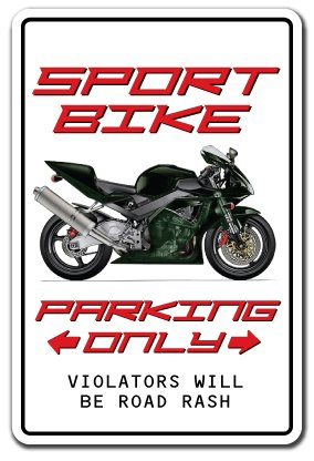 Sport Bike Parking Sign Motorcycle Cycle Rider Biker Helmet | Indoor/Outdoor | 17
