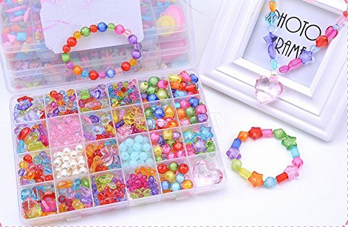 Jewelry Beads Toys, Magnolian Handmade Jewelry Making Kits Crystal Beading Accessories for Children Bracelets, Necklace, Early Childhood Education Toy…