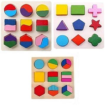 Okayji Wooden Geometry Matching Game Puzzles Educational Stacking Building Blocks, 3- Set