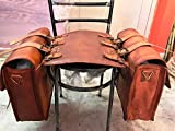 2 X Motorcycle Side Pouch Brown Leather Side Pouch Saddlebags Saddle Panniers (2 Bags) with free tool roll
