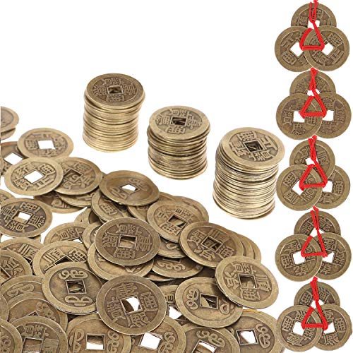 Omigga 300pcs Chinese Feng Shui Coins Good Luck Coins I-Ching Coins for Health and Wealth with 20sets Chinese Fortune Coins with Red String, 0.8inch