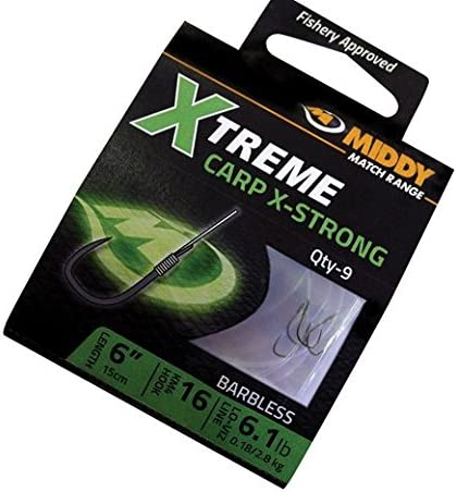 Middy Hi Carbon Barbless Carp Hair Rig Hooks Size 14 Eyed Pack Of 10