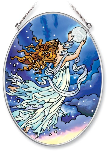 Amia Hand Painted Glass Suncatcher with Moon Fairy Design, 5-1/4-Inch by 7-Inch Oval