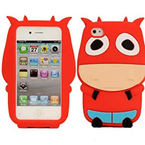 ISSEC Cute Cartoon Cattle Shape Protective Case For iPhone 4 4S(Red)