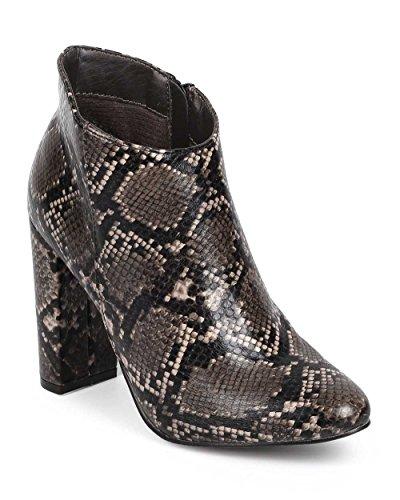 Breckelles DE07 Women Snakeskin Almond Toe Block Heel - Sz 7 Snake Boot