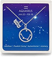 Presentski Zodiac Necklace Sterling Silver Dainty Zodiac Sign Charms Constellation Pendant Necklaces for Women