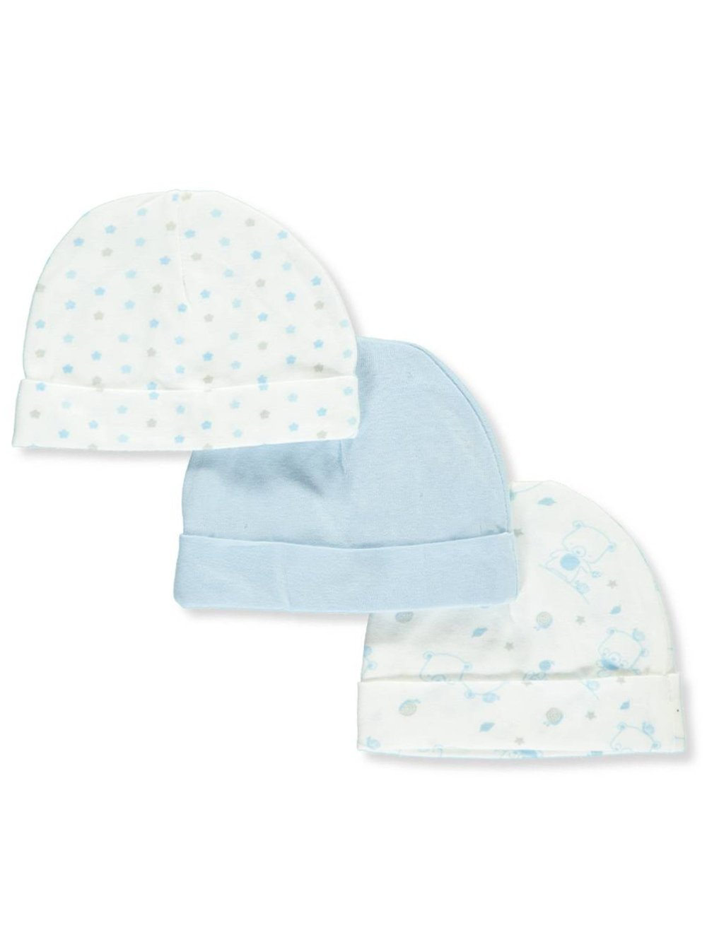 Mary Jane & Buster Baby Big Boys' 3-Pack Caps - white/blue, one size
