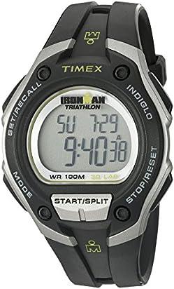 Timex Men's T5K412 Ironman 30-Lap Oversized Black/Silver-Tone Resin Strap Watch