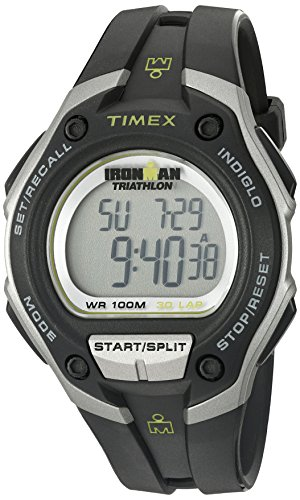 Timex Men's T5K412 Ironman 30-Lap Oversized Black/Silver-Tone Resin Strap Watch