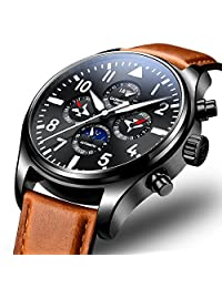 Carlien Pilot Men's Analog Automatic Mechanical Watch Luminous Calendar Moon Phase 24-Hours Black