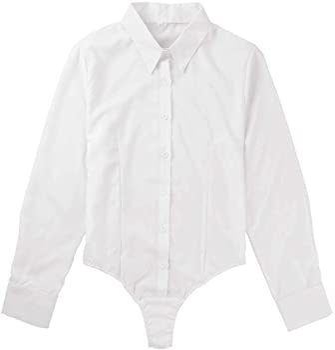 ranrann Body de Fiesta para Mujer Camisa Manga Larga Slim Fit Corte Alto Leotardo Blusa de Boda Ceremonia Traje de Noche Bodycon Jumpsuit Blanco Small: Amazon.es: Ropa y accesorios