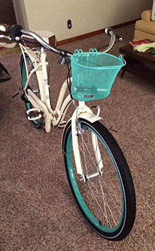 Biria Basket with hooks Green, Front, Removable, Children wire mesh SMALL kids Bicycle basket, NEW, Green by BIRIA (Image #4)