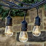 48ft S14 Edison Outdoor String Lights, MUEQU Weatherproof Commercial Grade ...