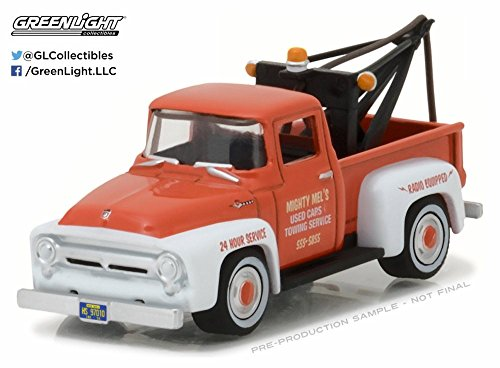Orange Hook (1956 Ford F-100 with Drop-in Tow Hook, Orange/White - Greenlight 97010A/48 - 1/64 Scale Diecast Model Toy Car)